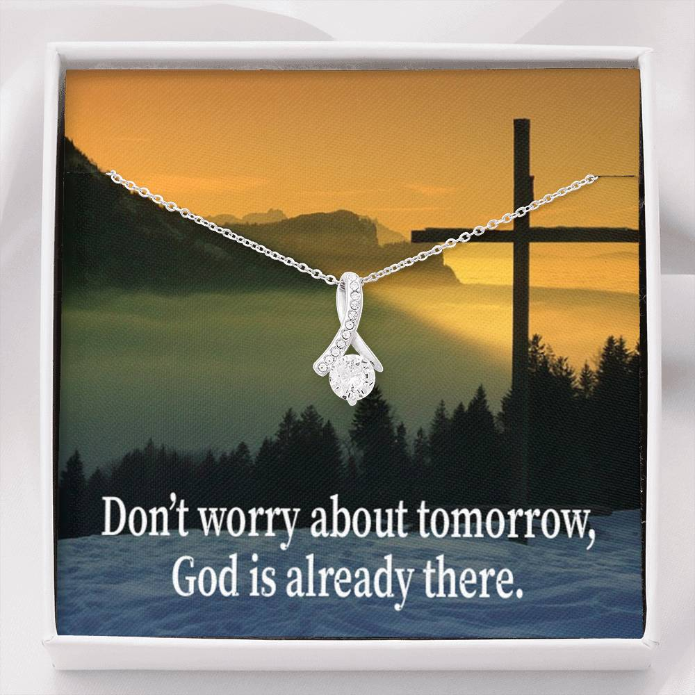Don't Worry About Tomorrow Inspirational Message Gift Eternity Ribbon Stone Pendant Inspirational Gift Sympathy Gift Christian Gift Bible Verse