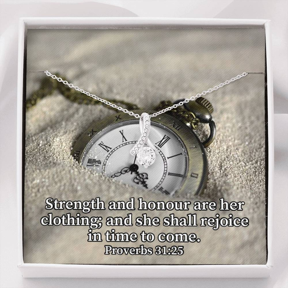 Strength and Honour Inspirational Message Gift Eternity Ribbon Stone Pendant Inspirational Gift Sympathy Gift Christian Gift Bible Verse