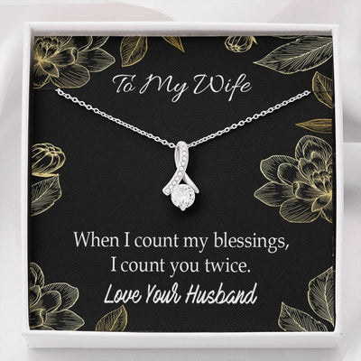 Wife Gift When I Count my Blessings Eternity Ribbon Stone Pendant 14k White Gold Stainless Steel 18-22