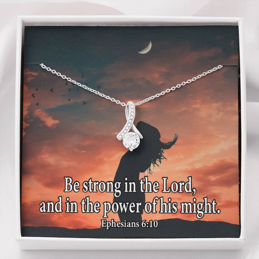 Be Strong in the Lord Inspirational Message Gift Eternity Ribbon Stone Pendant Inspirational Gift Sympathy Gift Christian Gift Bible Verse