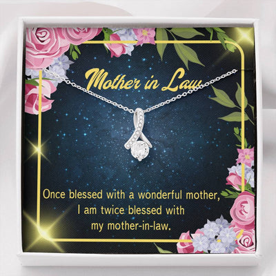 Mother-in-Law Jewelry Gift Twice Blessed Eternity Ribbon Stone Pendant 14k White Gold Stainless Steel 18-22 Bonus Mom Gift