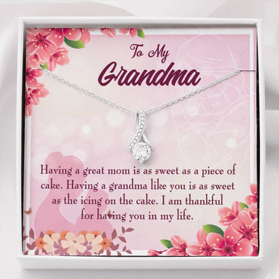 Grandmother Jewelry Gift Great Grandma Eternity Ribbon Stone Pendant 14k White Gold Stainless Steel 18-22