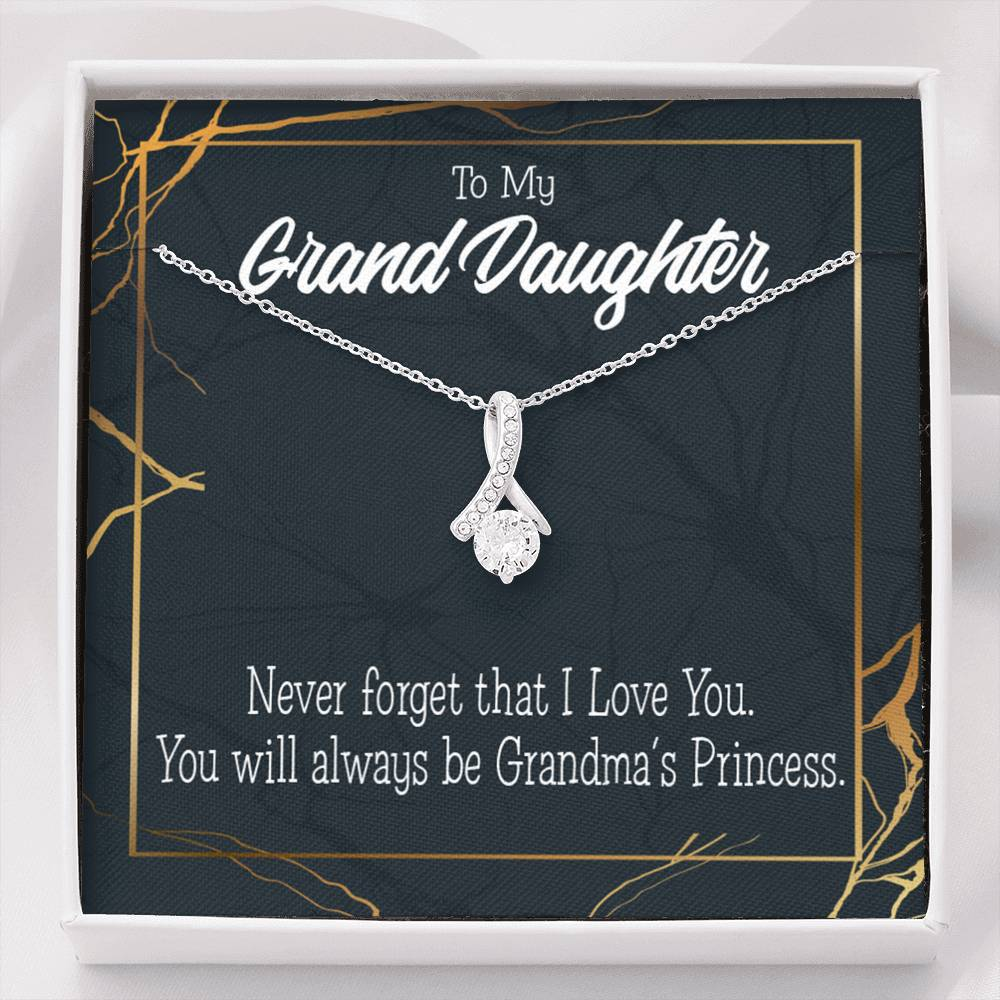Granddaughter Gift, Grandma's Princess Eternity Ribbon Stone Pendant, 14k White Gold Stainless Steel 18-22""