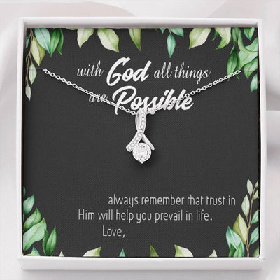 Personalized Message Jewelry Bible Scripture Message Eternity Ribbon Stone Pendant 14k White Gold Stainless Steel 18-22