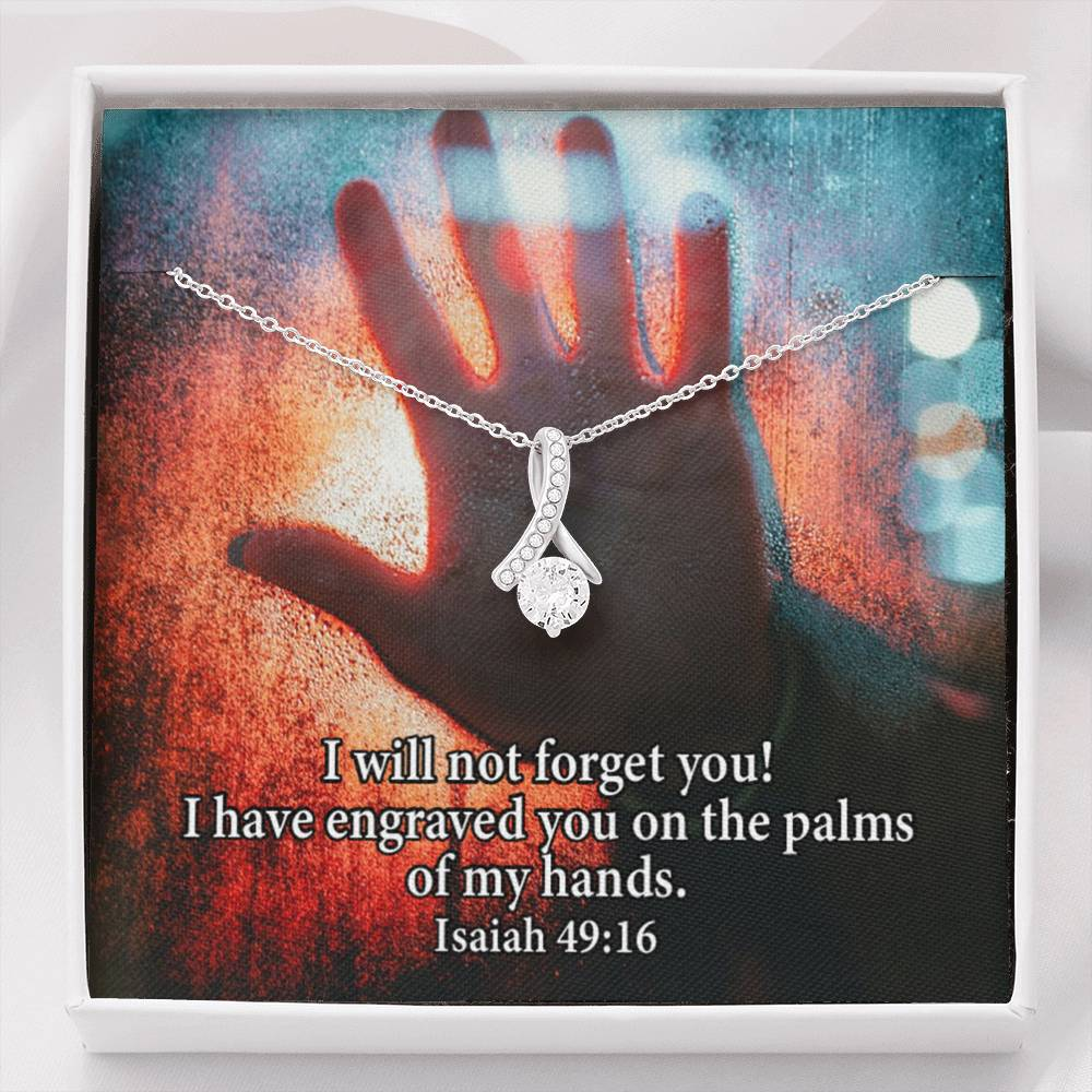 I Will Not Forget You Inspirational Message Gift Eternity Ribbon Stone Pendant Inspirational Gift Sympathy Gift Christian Gift Bible Verse