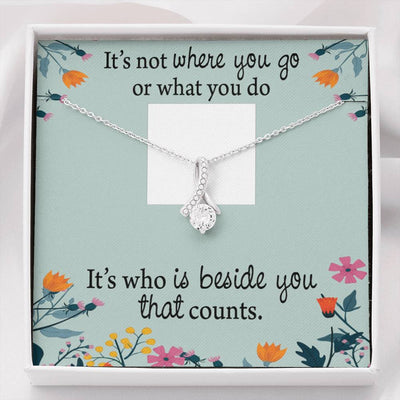 Personalized Message Jewelry It's Not What Eternity Ribbon Stone Pendant 14k White Gold Stainless Steel 18-22