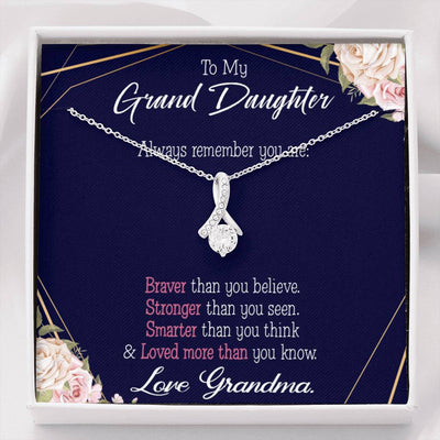 Granddaughter Gift, Always Remember Granddaughter Eternity Ribbon Stone Pendant, 14k White Gold Stainless Steel 18-22""