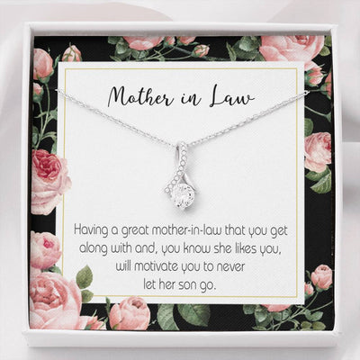 Mother-in-Law Jewelry Gift, Mother-in-Law That Motivate, Eternity Ribbon Stone Pendant, 14k White Gold Stainless Steel 18-22, Bonus Mom Gift