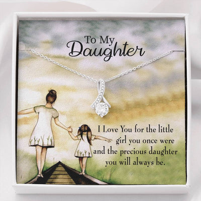Daughter Jewelry Gift, Mom's Precious Daughter, Eternity Ribbon Stone Pendant, 14k White Gold Stainless Steel 18-22, Mom to Daughter Gift