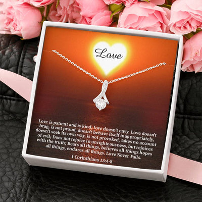 Love is Patient Inspirational Message Gift Eternity Ribbon Stone Pendant Inspirational Gift Sympathy Gift Christian Gift Bible Verse