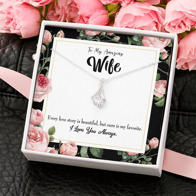 Gift for Wife My wife Our Story Eternity Ribbon Stone Pendant 14k White Gold Stainless Steel 18-22