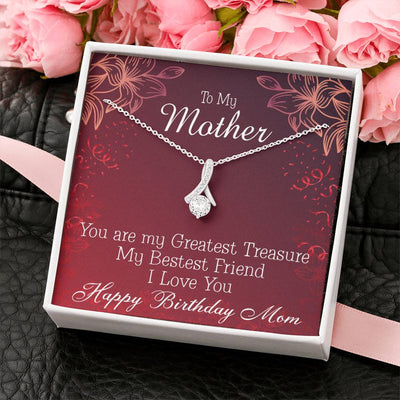 Mom Jewelry Gift Greatest Treasure Eternity Ribbon Stone Pendant 14k White Gold Stainless Steel 18-22 Mom Birthday Messages