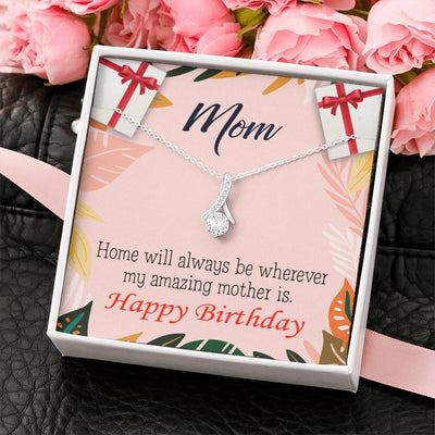 Mom Jewelry Gift Home is Mom Eternity Ribbon Stone Pendant 14k White Gold Stainless Steel 18-22 Mom Birthday Messages