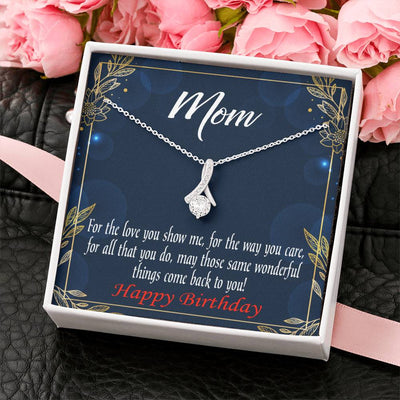 Mom Jewelry Gift Wonderful Things Eternity Ribbon Stone Pendant 14k White Gold Stainless Steel 18-22 Mom Birthday Messages