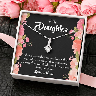 Daughter Jewelry Gift Mom Daughter Always Eternity Ribbon Stone Pendant 14k White Gold Stainless Steel 18-22 Mom to Daughter Gift