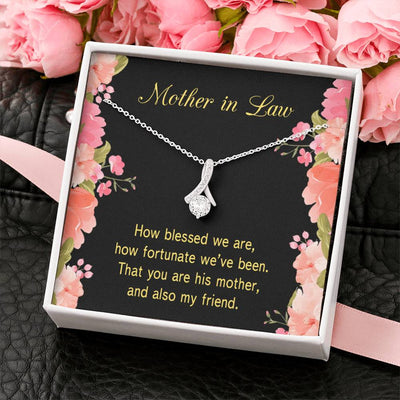 Mother-in-Law Jewelry Gift How Fortunate Eternity Ribbon Stone Pendant 14k White Gold Stainless Steel 18-22 Bonus Mom Gift