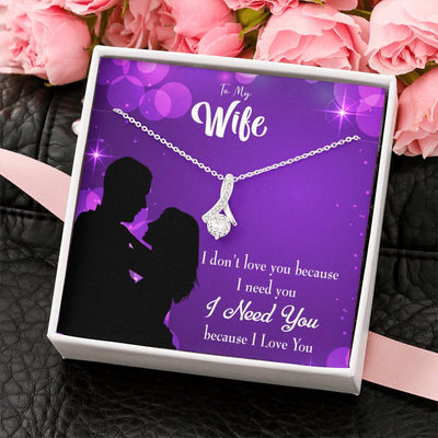 Gift for Wife Because I Love You Eternity Ribbon Stone Pendant 14k White Gold Stainless Steel 18-22