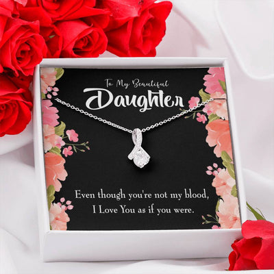 Daughter Jewelry Gift Beautiful Daughter Eternity Ribbon Stone Pendant 14k White Gold Stainless Steel 18-22