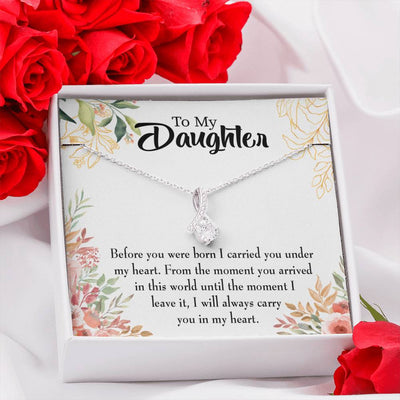 Daughter Jewelry Gift Before You Were Born Eternity Ribbon Stone Pendant 14k White Gold Stainless Steel 18-22
