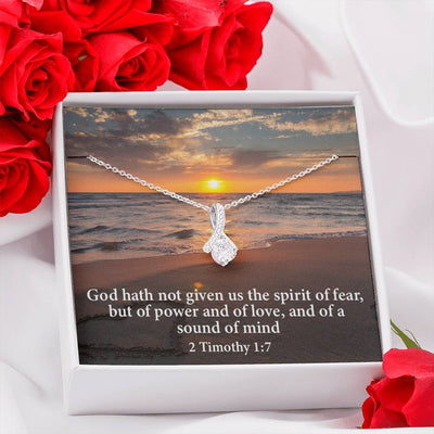 No Fear Inspirational Message Gift Eternity Ribbon Stone Pendant Inspirational Gift Sympathy Gift Christian Gift Bible Verse
