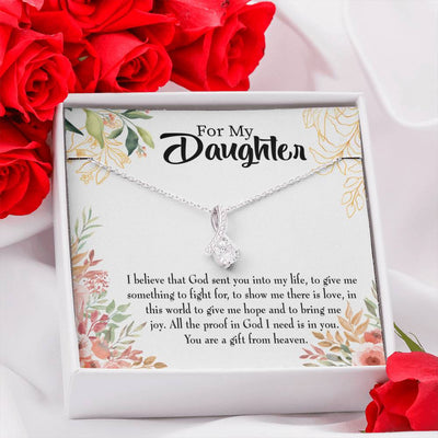 Daughter Jewelry Gift God Sent Daughter Religious Eternity Ribbon Stone Pendant 14k White Gold Stainless Steel 18-22