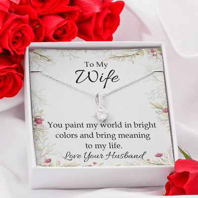 Wife Gift, You Paint My World, Eternity Ribbon Stone Pendant, 14k White Gold Stainless Steel 18-22
