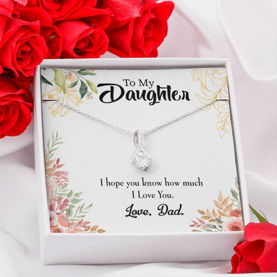 Daughter Jewelry Gift I Love You Dad Eternity Ribbon Stone Pendant 14k White Gold Stainless Steel 18-22 Dad to Daughter Gift