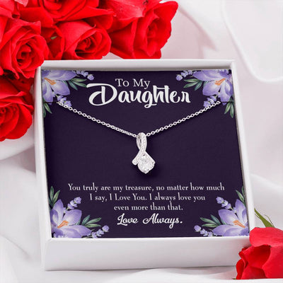 Daughter Jewelry Gift My Treasure Eternity Ribbon Stone Pendant 14k White Gold Stainless Steel 18-22 Mom to Daughter Gift