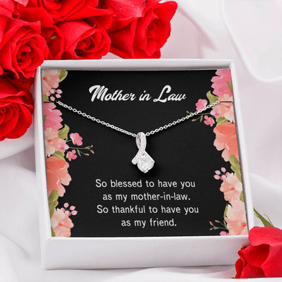 Mother-in-Law Jewelry Gift So Blessed Eternity Ribbon Stone Pendant 14k White Gold Stainless Steel 18-22 Bonus Mom Gift