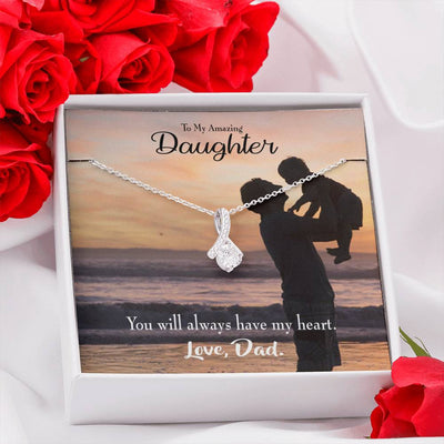 Daughter Jewelry Gift Dad's Amazing Daughter Eternity Ribbon Stone Pendant 14k White Gold Stainless Steel 18-22 Dad to Daughter Gift