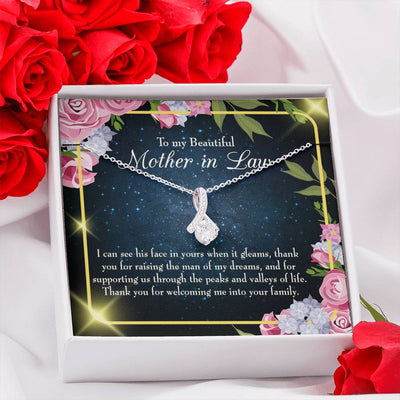 Mother-in-Law Jewelry Gift To my Beautiful Mother-in-Law Eternity Ribbon Stone Pendant 14k White Gold Stainless Steel 18-22 Bonus Mom Gift