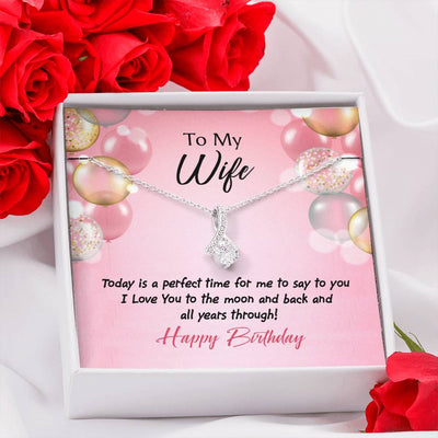 Birthday Gift for Wife Perfect Time Birthday Eternity Ribbon Stone Pendant 14k White Gold Stainless Steel 18-22