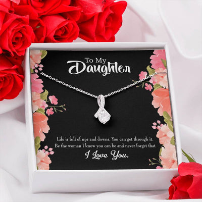 Daughter Jewelry Gift To my Daughter Be Strong Eternity Ribbon Stone Pendant 14k White Gold Stainless Steel 18-22
