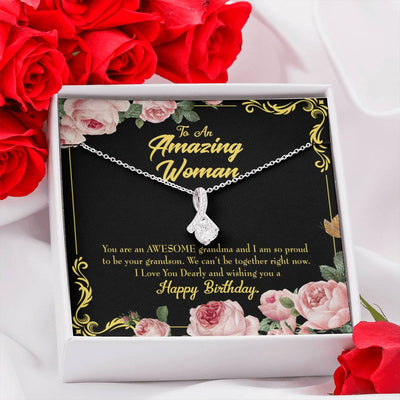 Grandmother Jewelry Gift Grandson Granny Birthday Eternity Ribbon Stone Pendant 14k White Gold Stainless Steel 18-22