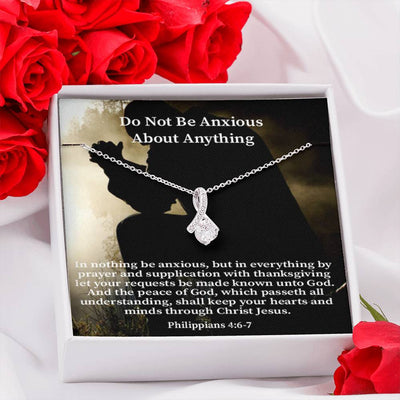 Do Not Be Anxious Inspirational Message Gift Eternity Ribbon Stone Pendant Inspirational Gift Sympathy Gift Christian Gift Bible Verse