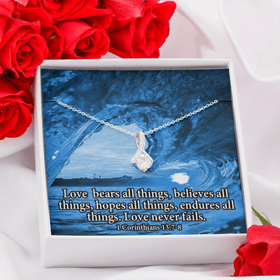 Love Bears All Inspirational Message Gift Eternity Ribbon Stone Pendant Inspirational Gift Sympathy Gift Christian Gift Bible Verse