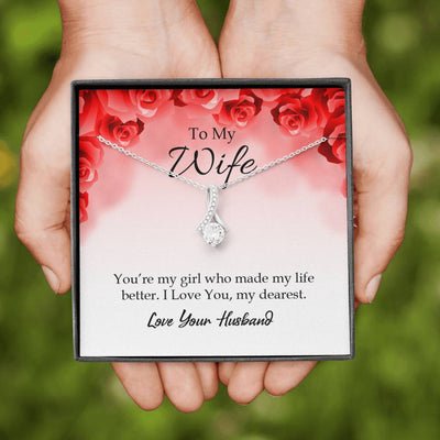 Wife Gift You're My Girl Eternity Ribbon Stone Pendant 14k White Gold Stainless Steel 18-22