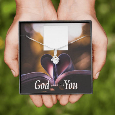 Personalized Message Jewelry God Gave me You Eternity Ribbon Stone Pendant 14k White Gold Stainless Steel 18-22