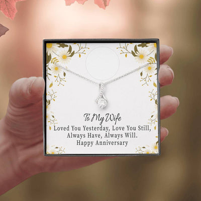 Personalized Message Jewelry Forever Together Eternity Ribbon Stone Pendant 14k White Gold Stainless Steel 18-22