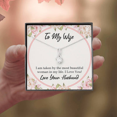 Wife Gift Taken by The Most Beautiful Woman Eternity Ribbon Stone Pendant 14k White Gold Stainless Steel 18-22