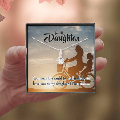 Daughter Jewelry Gift You Mean the World to Mom Eternity Ribbon Stone Pendant 14k White Gold Stainless Steel 18-22 Mom to Daughter Gift