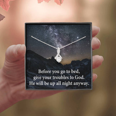 Give Your Trouble to God Inspirational Message Gift Eternity Ribbon Stone Pendant Inspirational Gift Sympathy Gift Christian Gift Bible Verse