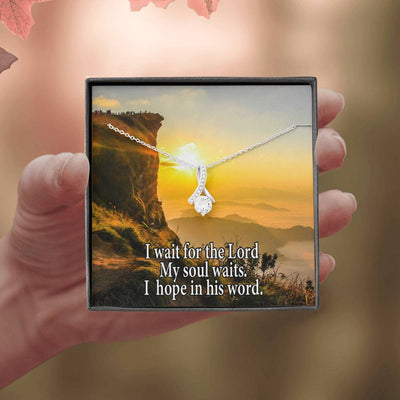 I Wait For The Lord Inspirational Message Gift Eternity Ribbon Stone Pendant Inspirational Gift Sympathy Gift Christian Gift Bible Verse