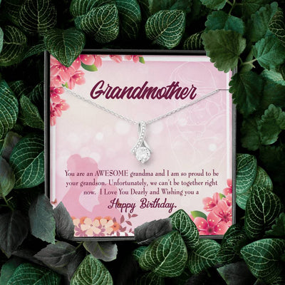 Grandmother Jewelry Gift Grandson to Grandma Eternity Ribbon Stone Pendant 14k White Gold Stainless Steel 18-22