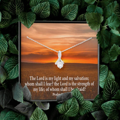 Lord is My Salvation Inspirational Message Gift Eternity Ribbon Stone Pendant Inspirational Gift Sympathy Gift Christian Gift Bible Verse