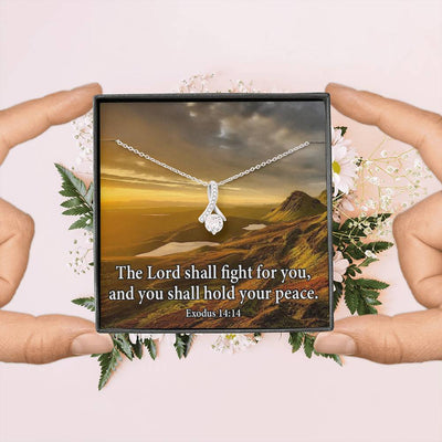 The Lord Shall Fight For You Inspirational Message Gift Eternity Ribbon Stone Pendant Inspirational Gift Sympathy Gift Christian Gift Bible Verse