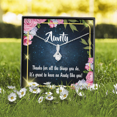 Aunt Jewelry Gift Auntie Like You Eternity Ribbon Stone Pendant 14k White Gold Stainless Steel 18-22