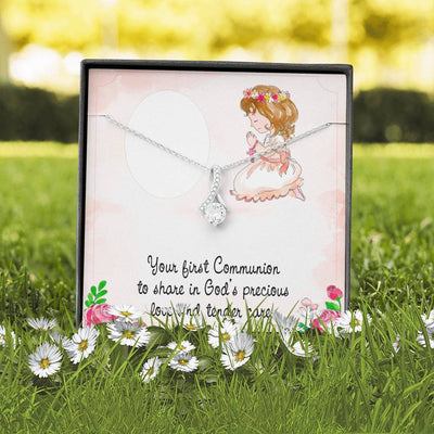 Personalized Message Jewelry You're First Communion Eternity Ribbon Stone Pendant 14k White Gold Stainless Steel 18-22