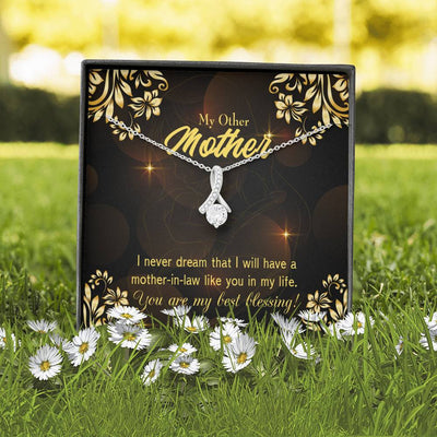 Mother-in-Law Jewelry Gift You're my Blessing Eternity Ribbon Stone Pendant 14k White Gold Stainless Steel 18-22 Bonus Mom Gift