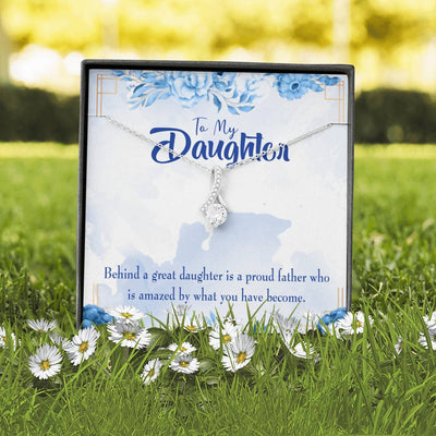 Daughter Jewelry Gift Great Daughter Amazing Dad Eternity Ribbon Stone Pendant 14k White Gold Stainless Steel 18-22